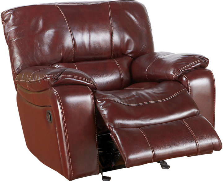 Rooms To Go Sanderson Mahogany Leather Glider Recliner