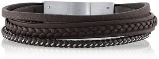 """He Rocks Brown Leather and Stainless Steel Triple Wrap Bracelet, 8.5"""""""