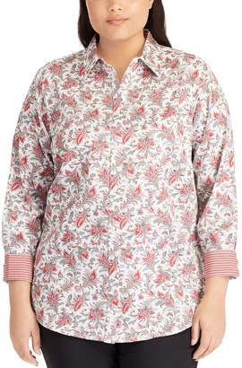 Chaps Plus Size No Iron Printed Sateen Shirt