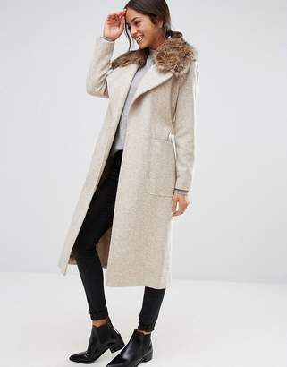 New Look Faux Fur Belted Maxi Coat