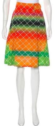 Akris Grid Print Knee-Length Skirt