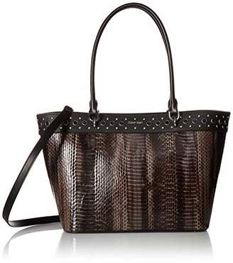 Calvin Klein womens Susan Patent Python Studded Tote with Card Case Hanger
