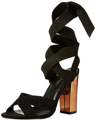 boohoo Women's Ella Block Cross Front Wrap Strap Open-Toe Heels,36 EU