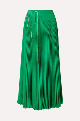 Christopher Kane Squiggle Crystal-embellished Pleated Crepe De Chine Midi Skirt - Green