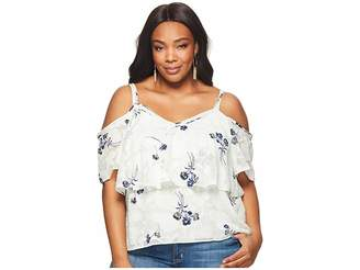 Lucky Brand Plus Size Floral Cold Shoulder Top Women's Clothing
