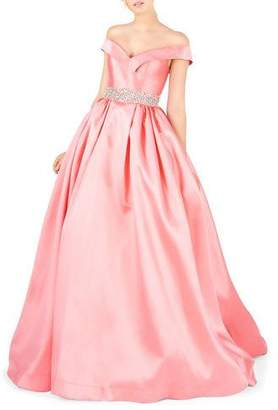 Mac Duggal Off-the-Shoulder Bejeweled-Waist Ball Gown with Pockets
