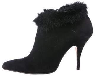 Isaac Mizrahi Faux Fur-Trimmed Suede Booties