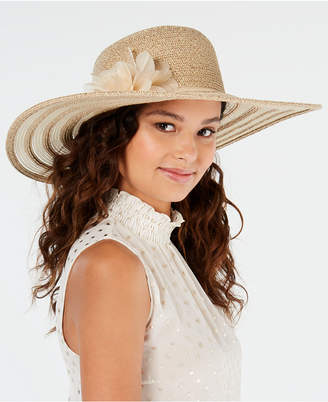 Nine West Packable Super Floppy Hat With Flower