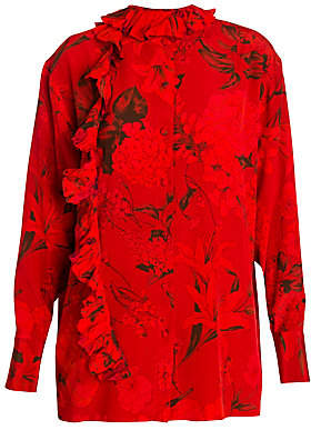 552781b9401244 Valentino Women s Silk Ruffle Floral Blouse