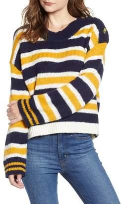 BP Button Shoulder Stripe Sweater