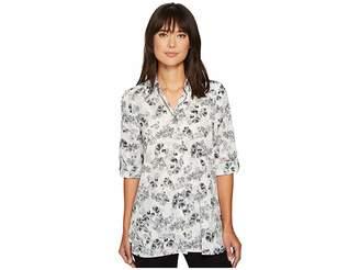 Ellen Tracy Roll Tab Boyfriend Shirt Women's Clothing