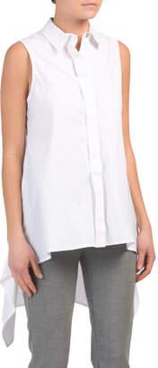Sleeveless Collared Button Down Shirt