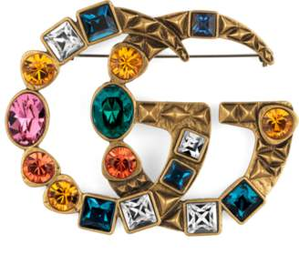 Gucci Crystal Double G brooch