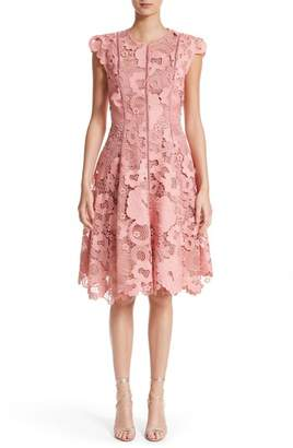 Lela Rose Seamed Lace Fit & Flare Dress