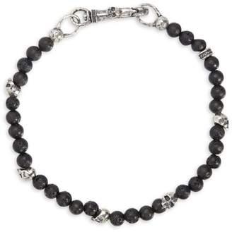 Mercer Sterling Silver & Lava Bead Skull Bracelet