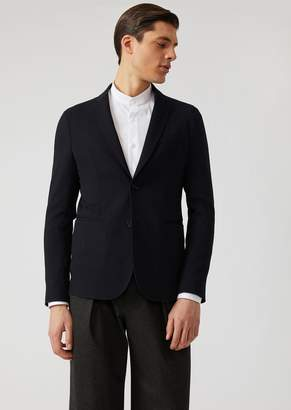 Emporio Armani Two-Button Single-Breasted Stretch Wool Jacket
