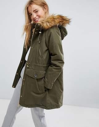 Pull&Bear Faux Fur Hood Parka Coat