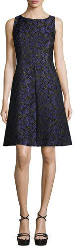 MICHAEL Michael KorsMichael Kors Sleeveless Floral-Print A-Line Dress, Black/Leaf/Oleander
