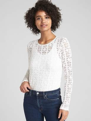Gap Long Sleeve Crewneck Top in Pucker Lace