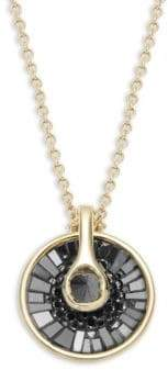 Black Diamond Opus 18K Gold & Round Baguette Pendant Necklace