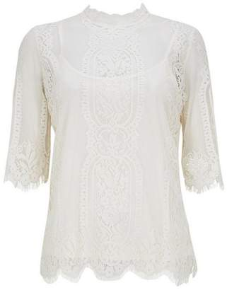 Wallis Ivory High Neck Lace Top