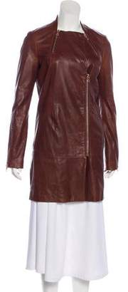 J Brand Leather Long Sleeve Coat