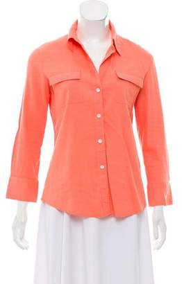 Theory Three-Quarter Sleeve Button-Up Top