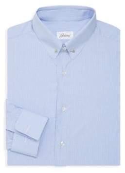 Brioni Pin Collar Patterned Dress Shirt