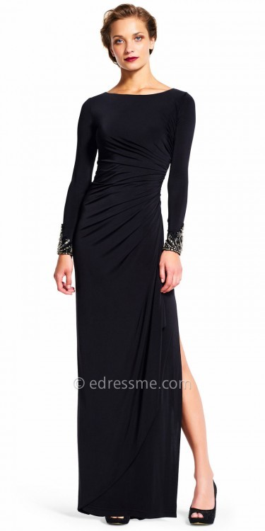 Adrianna PapellAdrianna Papell Gathered Long Sleeve Beaded Jersey Evening Dress