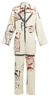 Matty Bovan - Sketch Printed Canvas Boiler Suit - Womens - White