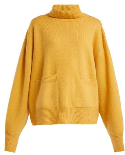 Pocket Front Roll Neck Cashmere Sweater - Womens - Yellow