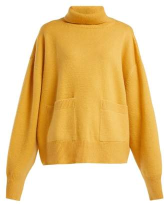 Raey Pocket Front Roll Neck Cashmere Sweater - Womens - Yellow