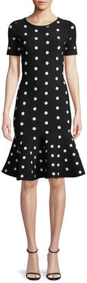 Milly Short-Sleeve Polka-Dot Mermaid Dress