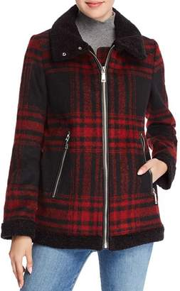 Vince Camuto Faux Shearling Collar Oversized Plaid Jacket