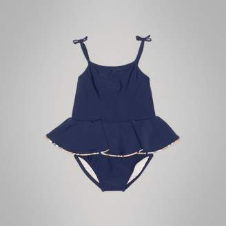 Burberry Childrens Check Detail Peplum One-piece Swimsuit