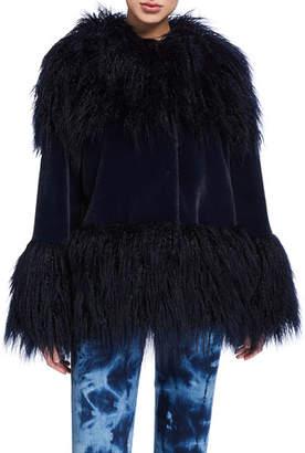 Baldan Amanda Mongolian Faux-Fur Cuffed Coat