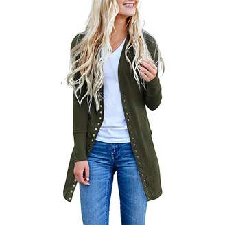 Pervobs Womens Sweater Clearance Sale! Pervobs Womens Knitted Cardigan Sweater Loose Open Front Button Down Long Sleeve Plus Drape Cardigan