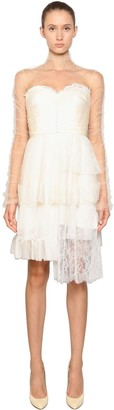 Antonio Marras Satin Dress W/ Tulle & Chiffon