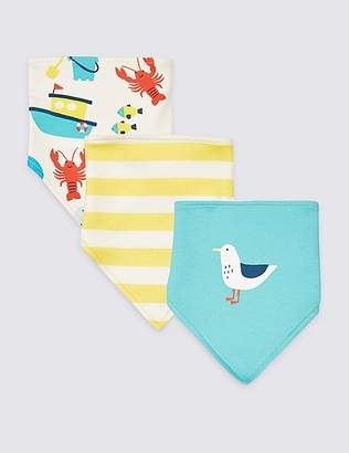 Marks and Spencer 3 Pack Pure Cotton Sea Life Triple Bibs