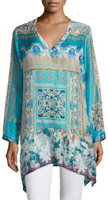 Johnny Was Chapman Long-Sleeve Printed Tunic, Petite