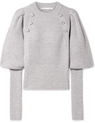 Veronica Beard Jude Button-embellished Wool Sweater - Gray