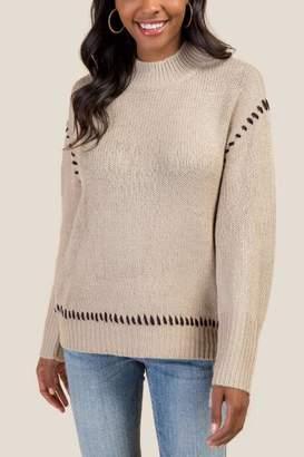 francesca's Natasha Whipstitch Sweater - Ivory