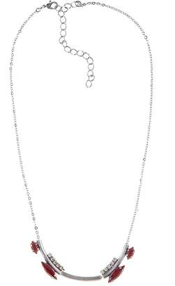 Halo & Co Deep Red Cloudy Crystal Necklace In Oxidised Silver Tone