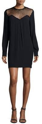 A.L.C. Tate Mesh-Trim Shift Dress, Black