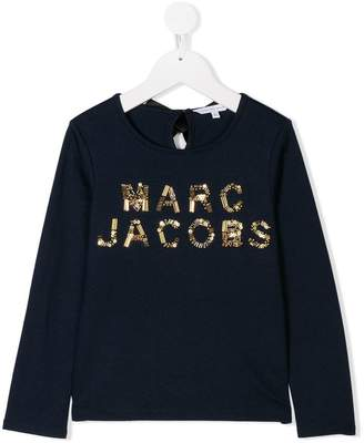 Little Marc Jacobs sequin and bead logo embellished top