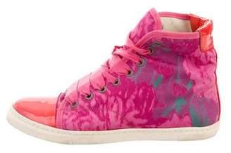 Lanvin Pattern Print Cap-Toe Sneakers