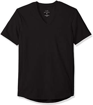 Armani Exchange A|X Men's Cotton Spandex V Neck Front Chest Logo Side Piping