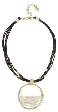 Robert Lee Morris Soho Bound To Basics Wire Wrapped Leather Pendant Necklace