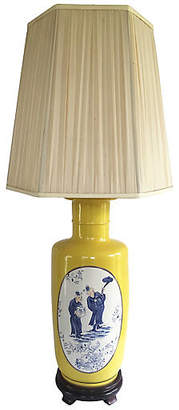 One Kings Lane Vintage Monumental Yellow Vase Lamp with Wood Base