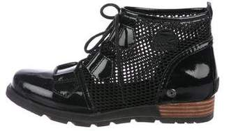 Sorel Patent Leather Mesh-Accented Ankle Boots